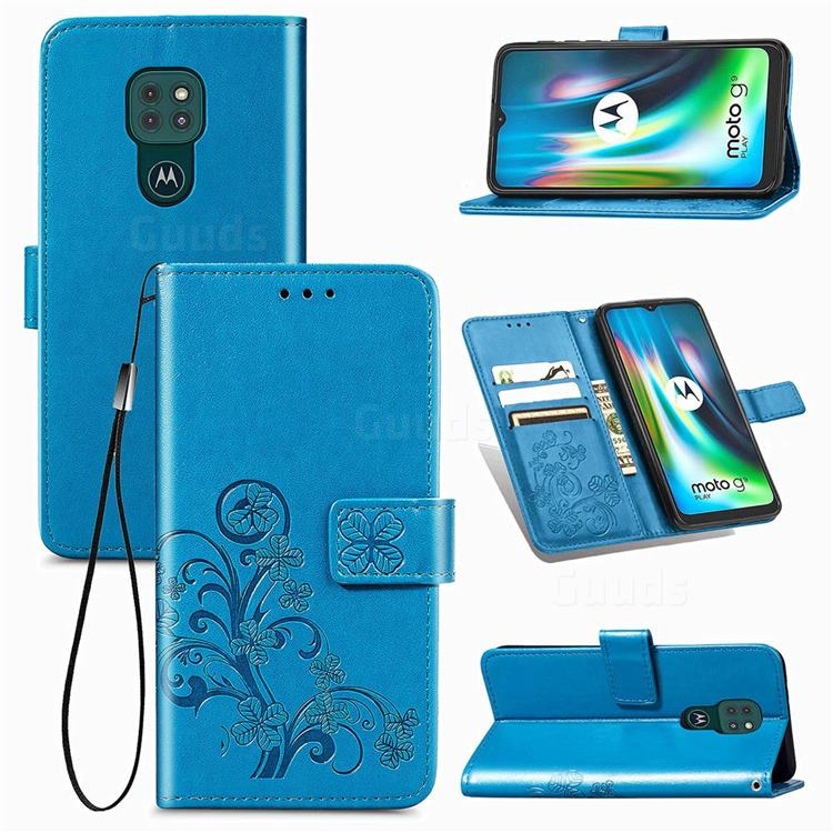 Embossing Imprint Four-Leaf Clover Leather Wallet Case for Motorola Moto G9 Play - Blue