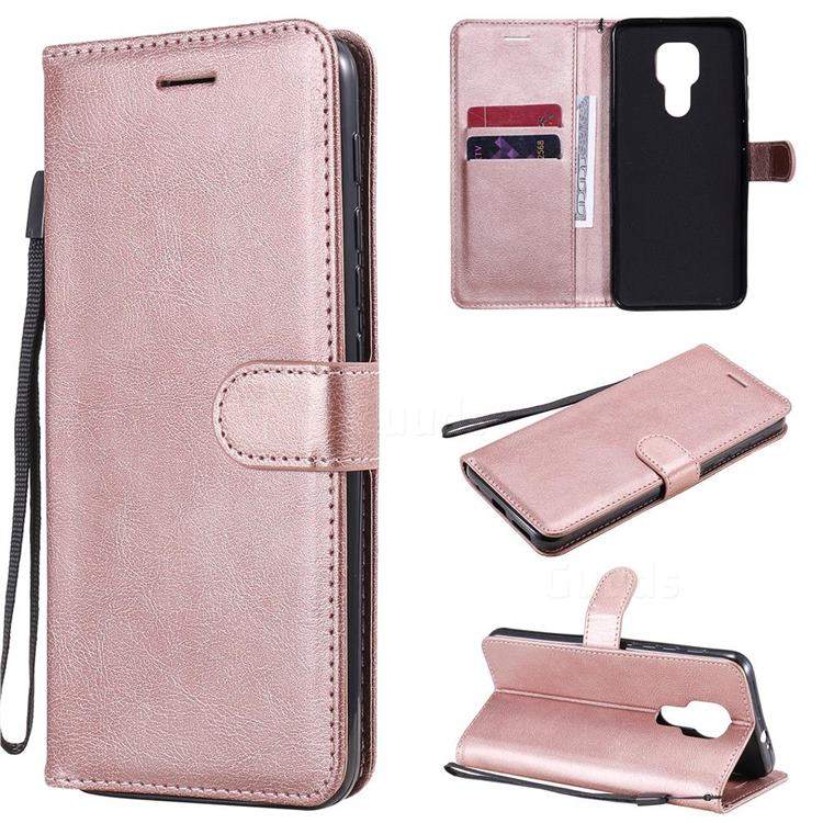 Retro Greek Classic Smooth PU Leather Wallet Phone Case for Motorola Moto G9 Play - Rose Gold