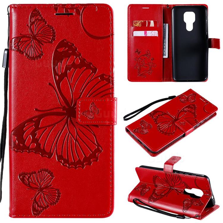 Embossing 3D Butterfly Leather Wallet Case for Motorola Moto G9 Play - Red