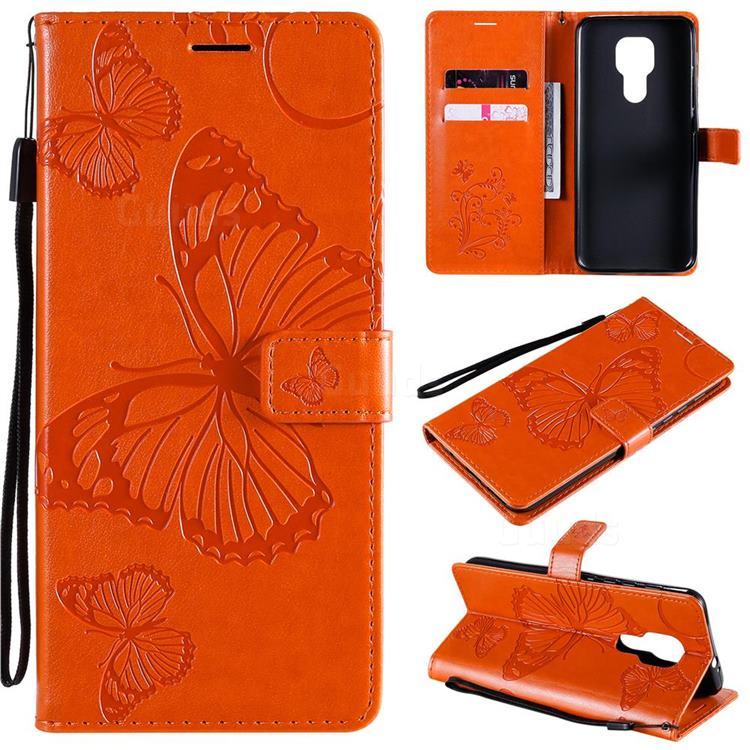 Embossing 3D Butterfly Leather Wallet Case for Motorola Moto G9 Play - Orange