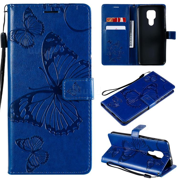 Embossing 3D Butterfly Leather Wallet Case for Motorola Moto G9 Play - Blue
