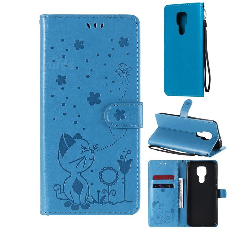 Embossing Bee and Cat Leather Wallet Case for Motorola Moto G9 Play - Blue