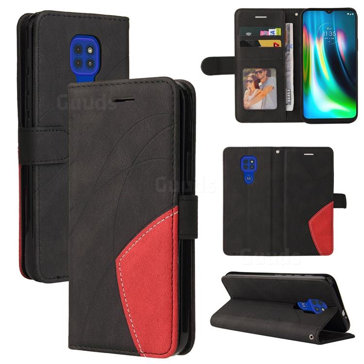 Luxury Two-color Stitching Leather Wallet Case Cover for Motorola Moto G9 Play - Black
