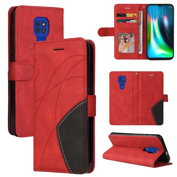 Luxury Two-color Stitching Leather Wallet Case Cover for Motorola Moto G9 Play - Red