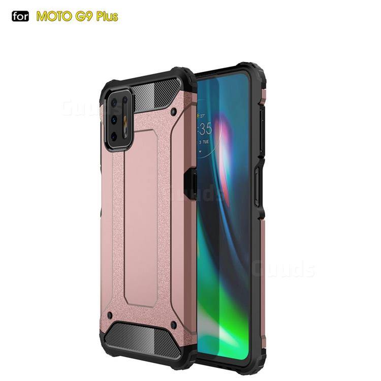 King Kong Armor Premium Shockproof Dual Layer Rugged Hard Cover for Motorola Moto G9 Plus - Rose Gold