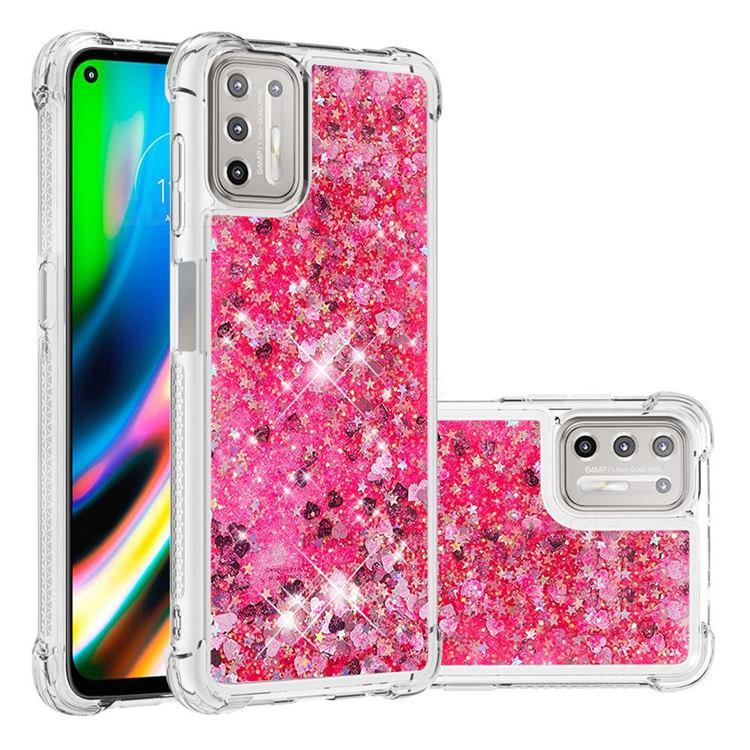 Dynamic Liquid Glitter Sand Quicksand TPU Case for Motorola Moto G9 Plus - Pink Love Heart