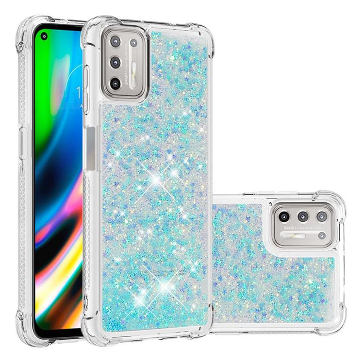 Dynamic Liquid Glitter Sand Quicksand TPU Case for Motorola Moto G9 Plus - Silver Blue Star
