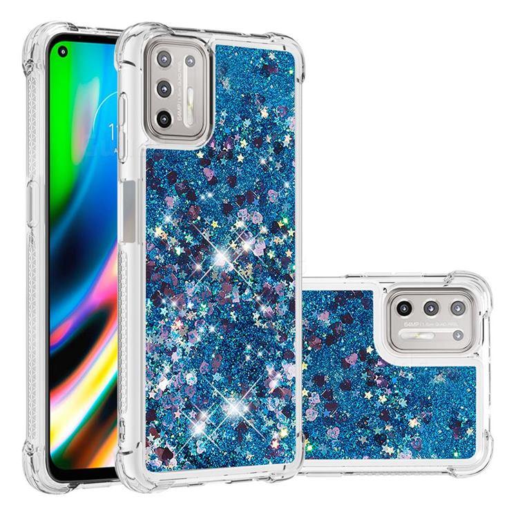 Dynamic Liquid Glitter Sand Quicksand TPU Case for Motorola Moto G9 Plus - Blue Love Heart