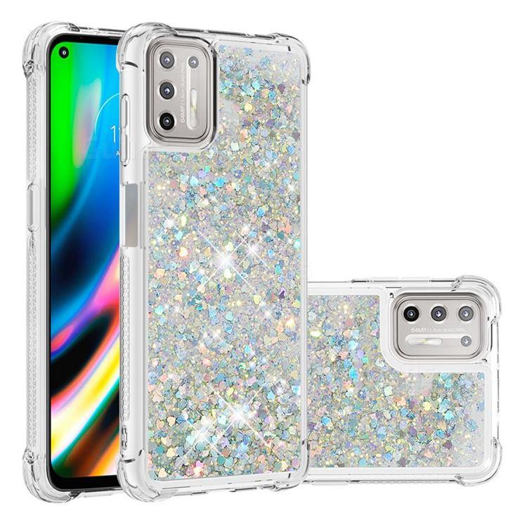 Dynamic Liquid Glitter Sand Quicksand Star TPU Case for Motorola Moto G9 Plus - Silver