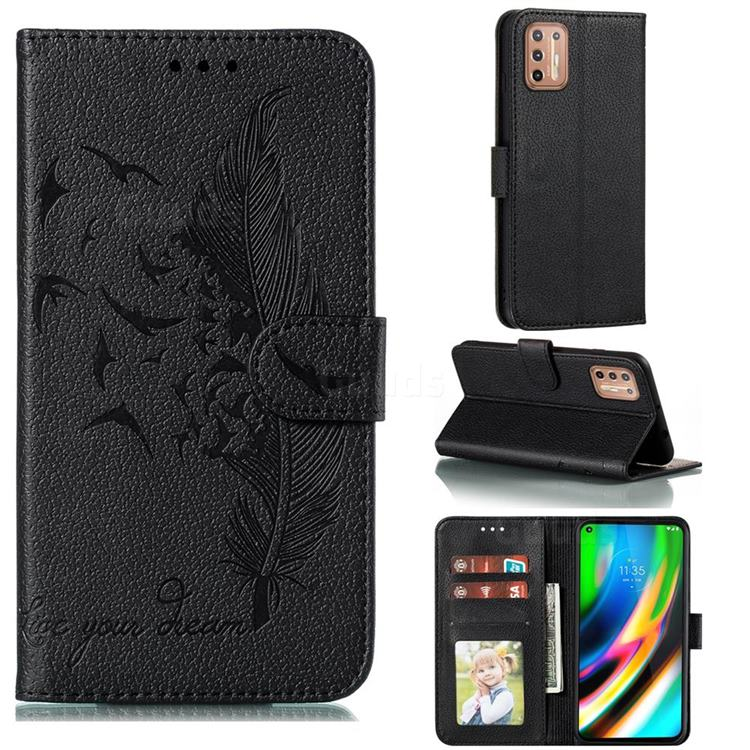 Intricate Embossing Lychee Feather Bird Leather Wallet Case for Motorola Moto G9 Plus - Black