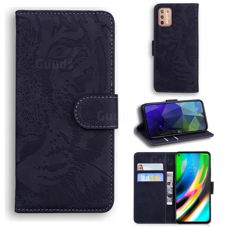Intricate Embossing Tiger Face Leather Wallet Case for Motorola Moto G9 Plus - Black