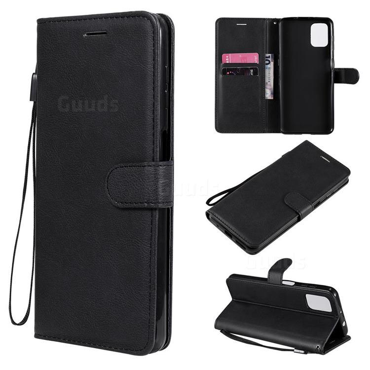 Retro Greek Classic Smooth PU Leather Wallet Phone Case for Motorola Moto G9 Plus - Black
