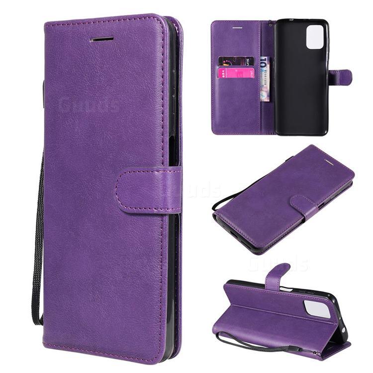 Retro Greek Classic Smooth PU Leather Wallet Phone Case for Motorola Moto G9 Plus - Purple