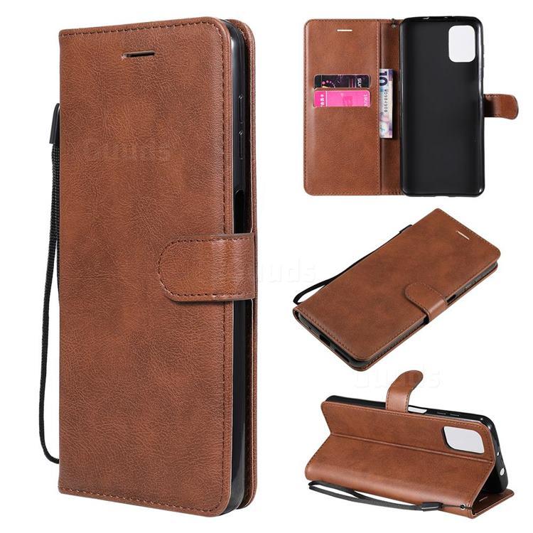 Retro Greek Classic Smooth PU Leather Wallet Phone Case for Motorola Moto G9 Plus - Brown