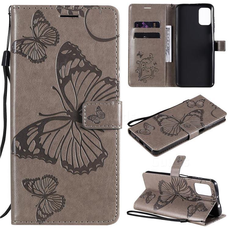 Embossing 3D Butterfly Leather Wallet Case for Motorola Moto G9 Plus - Gray