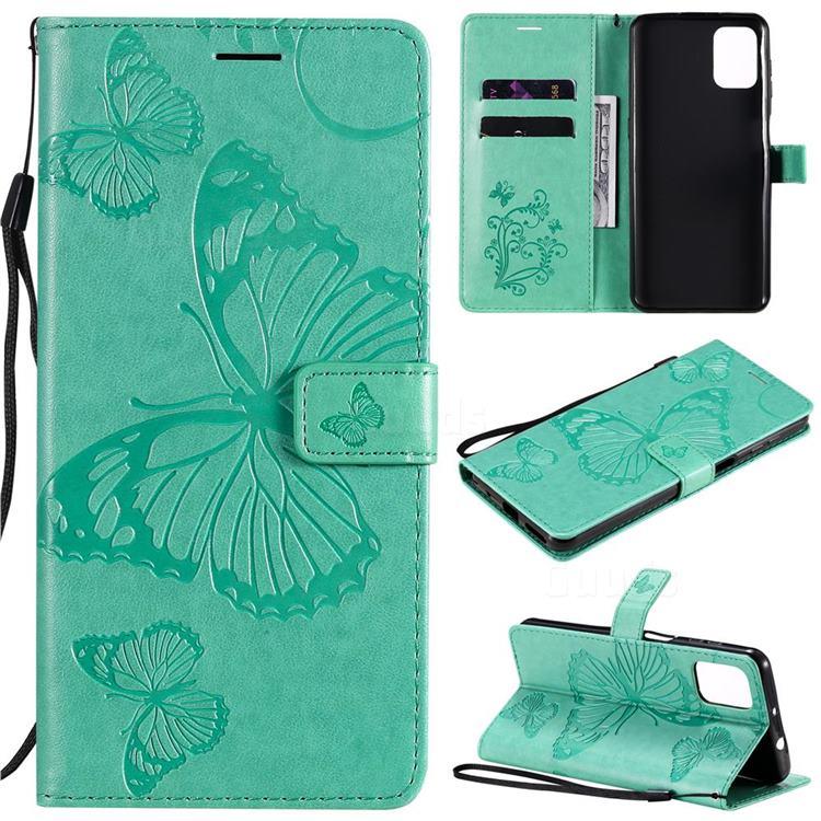 Embossing 3D Butterfly Leather Wallet Case for Motorola Moto G9 Plus - Green