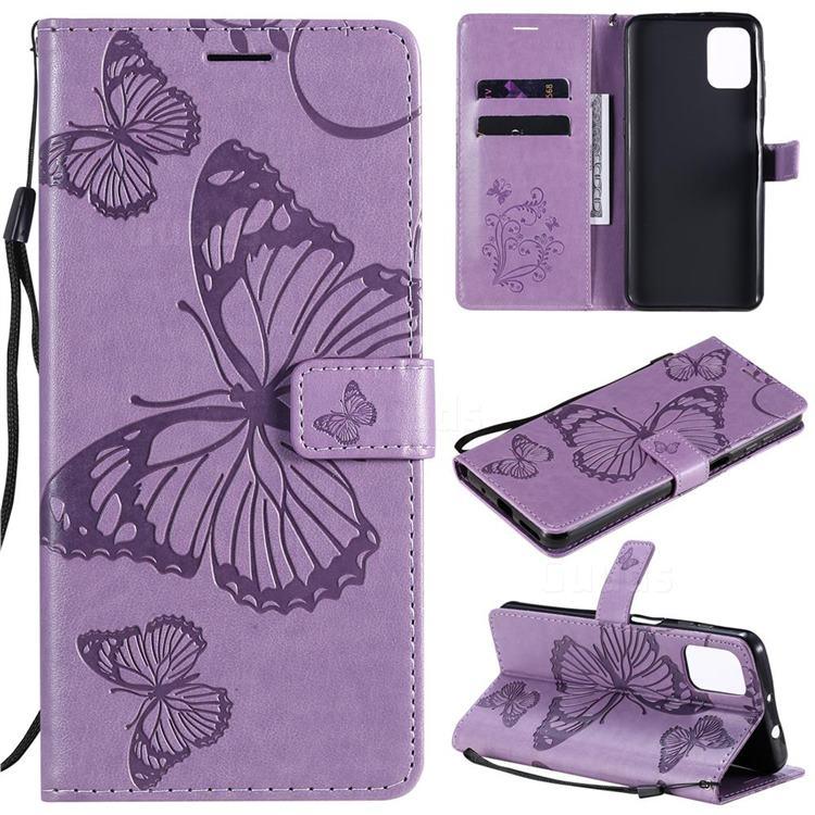 Embossing 3D Butterfly Leather Wallet Case for Motorola Moto G9 Plus - Purple