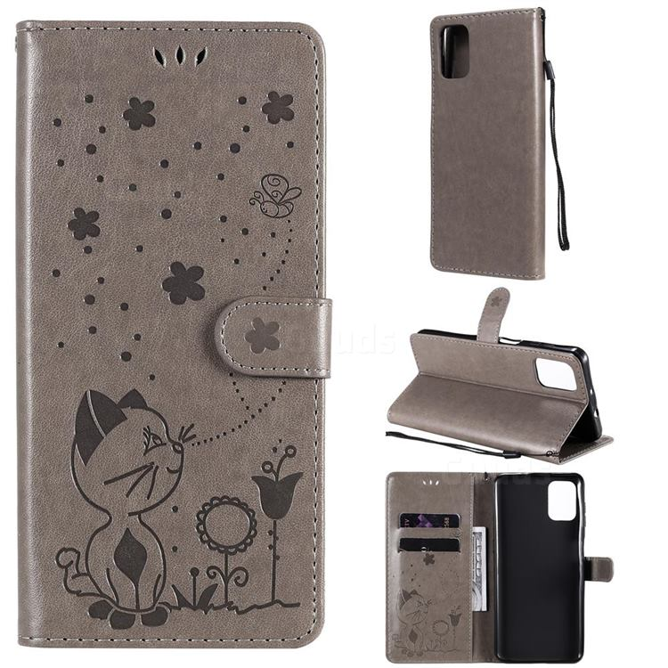 Embossing Bee and Cat Leather Wallet Case for Motorola Moto G9 Plus - Gray