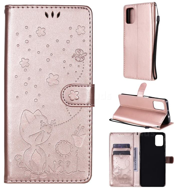 Embossing Bee and Cat Leather Wallet Case for Motorola Moto G9 Plus - Rose Gold
