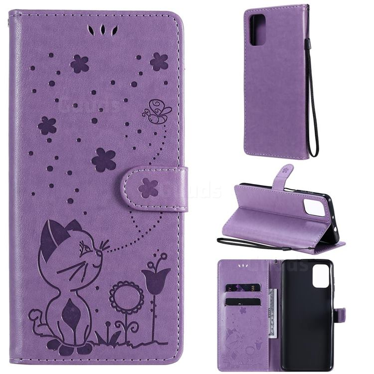 Embossing Bee and Cat Leather Wallet Case for Motorola Moto G9 Plus - Purple