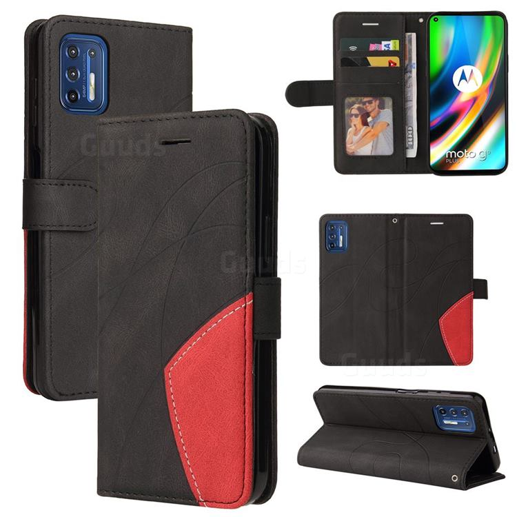 Luxury Two-color Stitching Leather Wallet Case Cover for Motorola Moto G9 Plus - Black