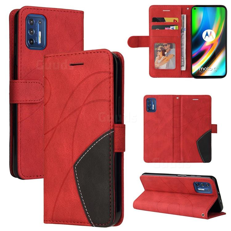 Luxury Two-color Stitching Leather Wallet Case Cover for Motorola Moto G9 Plus - Red