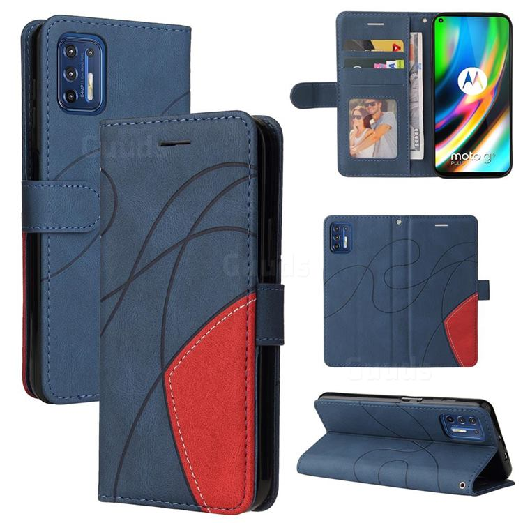 Luxury Two-color Stitching Leather Wallet Case Cover for Motorola Moto G9 Plus - Blue