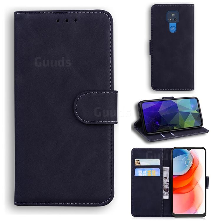 Retro Classic Skin Feel Leather Wallet Phone Case for Motorola Moto G Play(2021) - Black