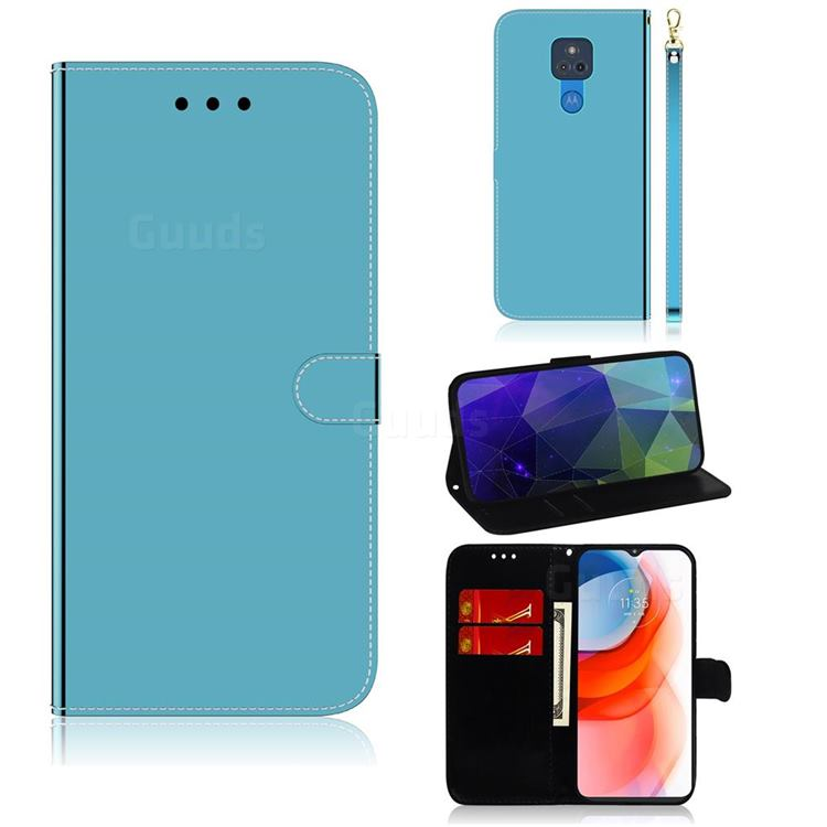 Shining Mirror Like Surface Leather Wallet Case for Motorola Moto G Play(2021) - Blue