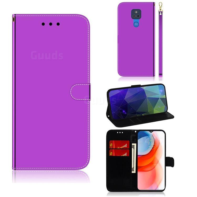 Shining Mirror Like Surface Leather Wallet Case for Motorola Moto G Play(2021) - Purple