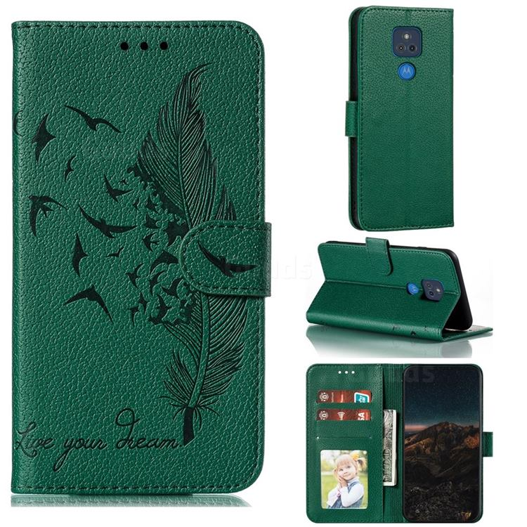 Intricate Embossing Lychee Feather Bird Leather Wallet Case for Motorola Moto G Play(2021) - Green