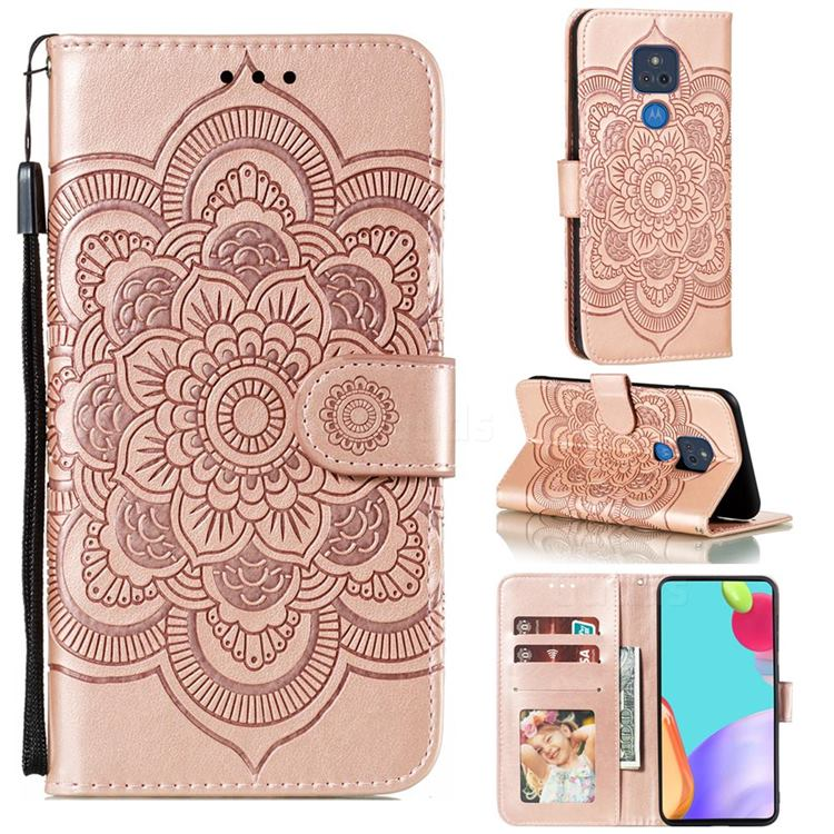 Intricate Embossing Datura Solar Leather Wallet Case for Motorola Moto G Play(2021) - Rose Gold