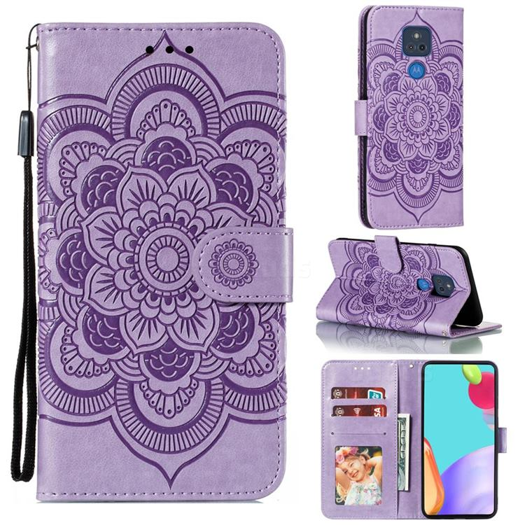 Intricate Embossing Datura Solar Leather Wallet Case for Motorola Moto G Play(2021) - Purple