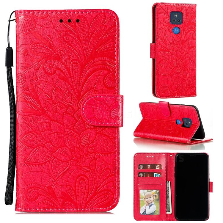 Intricate Embossing Lace Jasmine Flower Leather Wallet Case for Motorola Moto G Play(2021) - Red