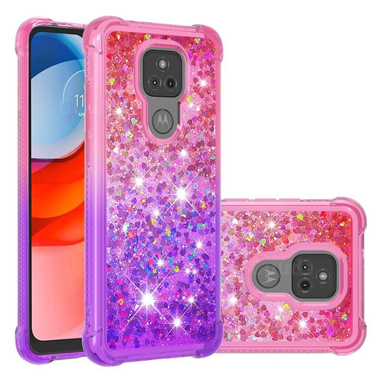 Rainbow Gradient Liquid Glitter Quicksand Sequins Phone Case for Motorola Moto G Play(2021) - Pink Purple