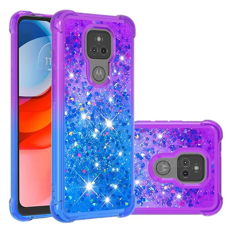 Rainbow Gradient Liquid Glitter Quicksand Sequins Phone Case for Motorola Moto G Play(2021) - Purple Blue