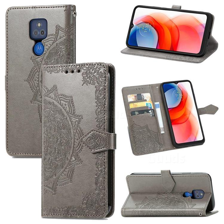 Embossing Imprint Mandala Flower Leather Wallet Case for Motorola Moto G Play(2021) - Gray