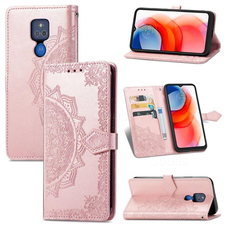 Embossing Imprint Mandala Flower Leather Wallet Case for Motorola Moto G Play(2021) - Rose Gold