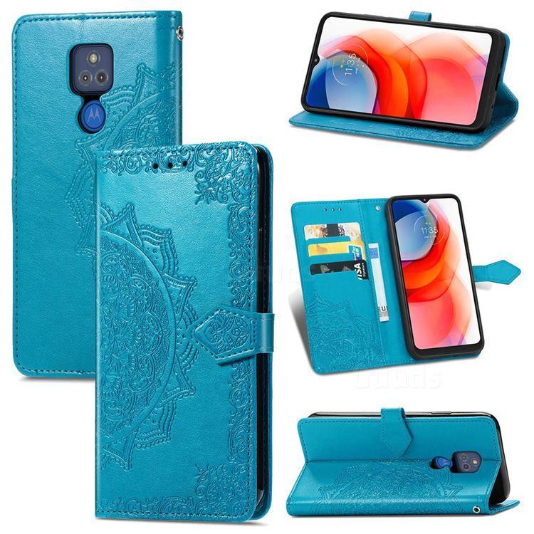 Embossing Imprint Mandala Flower Leather Wallet Case for Motorola Moto G Play(2021) - Blue