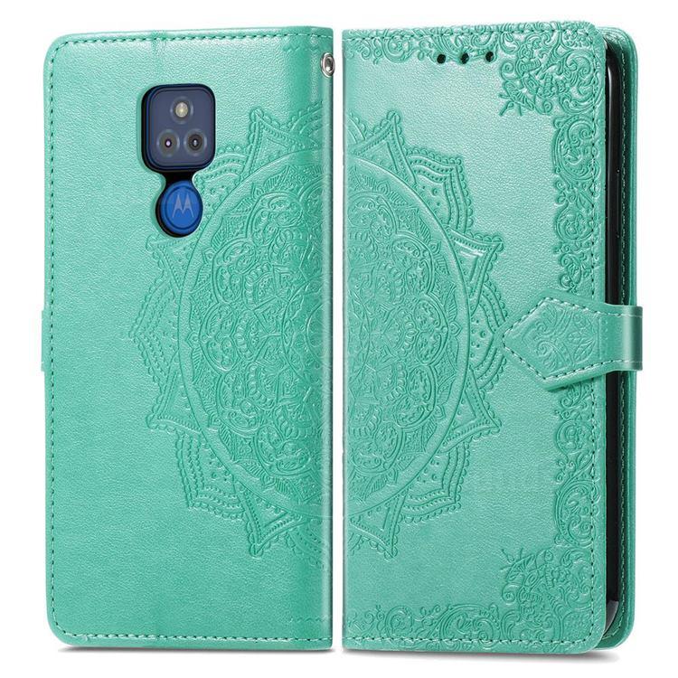 Embossing Imprint Mandala Flower Leather Wallet Case for Motorola Moto G Play(2021) - Green