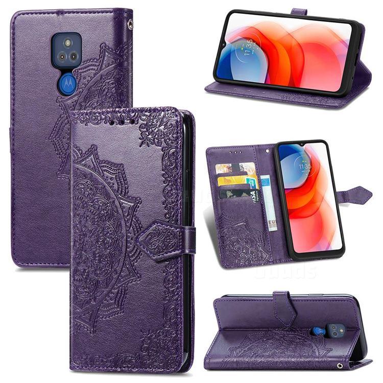 Embossing Imprint Mandala Flower Leather Wallet Case for Motorola Moto G Play(2021) - Purple