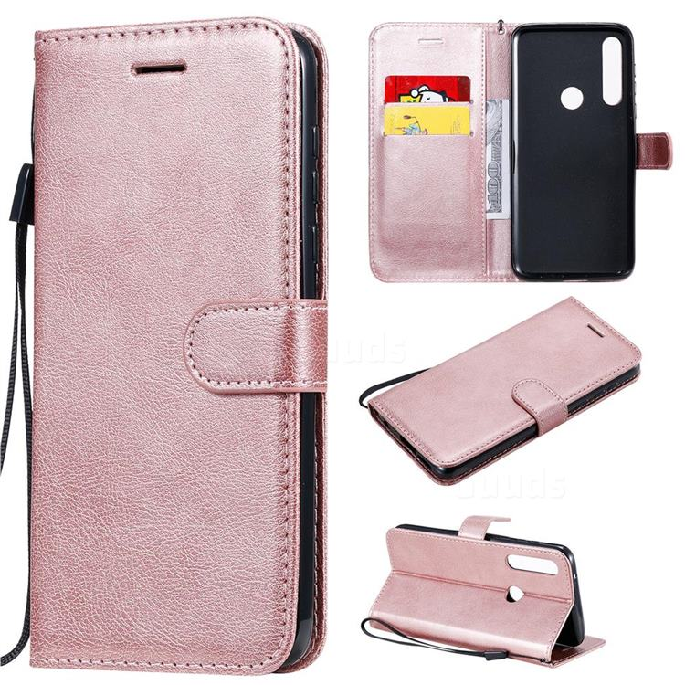 Retro Greek Classic Smooth PU Leather Wallet Phone Case for Motorola Moto G Power - Rose Gold