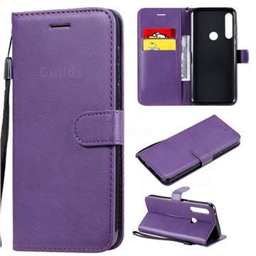 Retro Greek Classic Smooth PU Leather Wallet Phone Case for Motorola Moto G Power - Purple