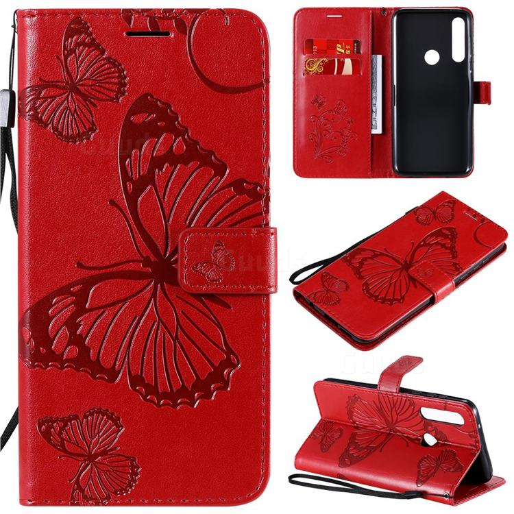 Embossing 3D Butterfly Leather Wallet Case for Motorola Moto G Power - Red