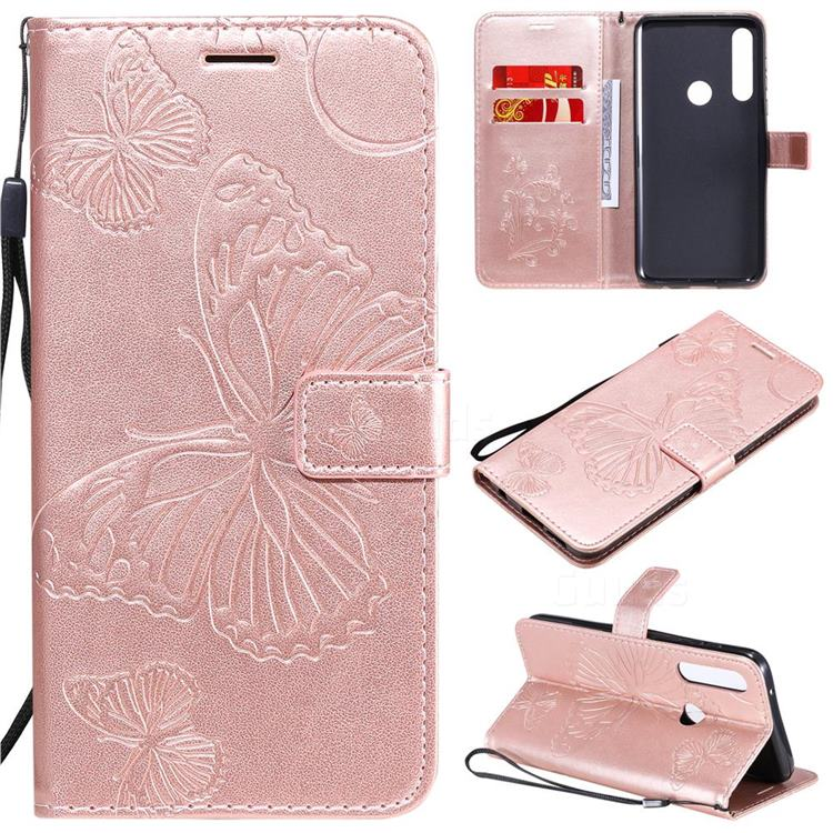 Embossing 3D Butterfly Leather Wallet Case for Motorola Moto G Power - Rose Gold
