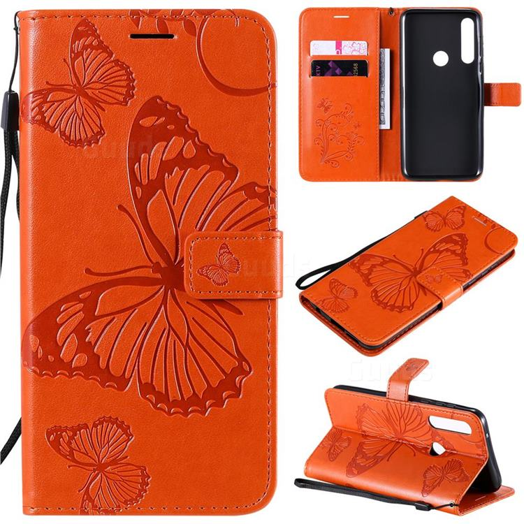 Embossing 3D Butterfly Leather Wallet Case for Motorola Moto G Power - Orange