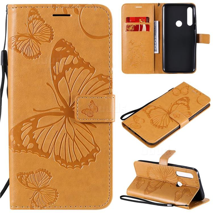 Embossing 3D Butterfly Leather Wallet Case for Motorola Moto G Power - Yellow