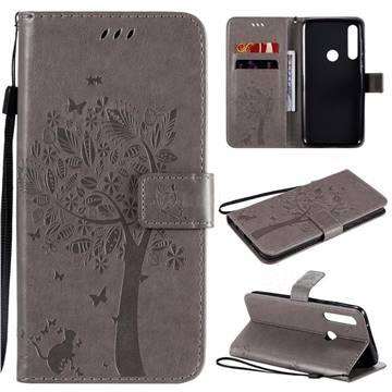 Embossing Butterfly Tree Leather Wallet Case for Motorola Moto G Power - Grey
