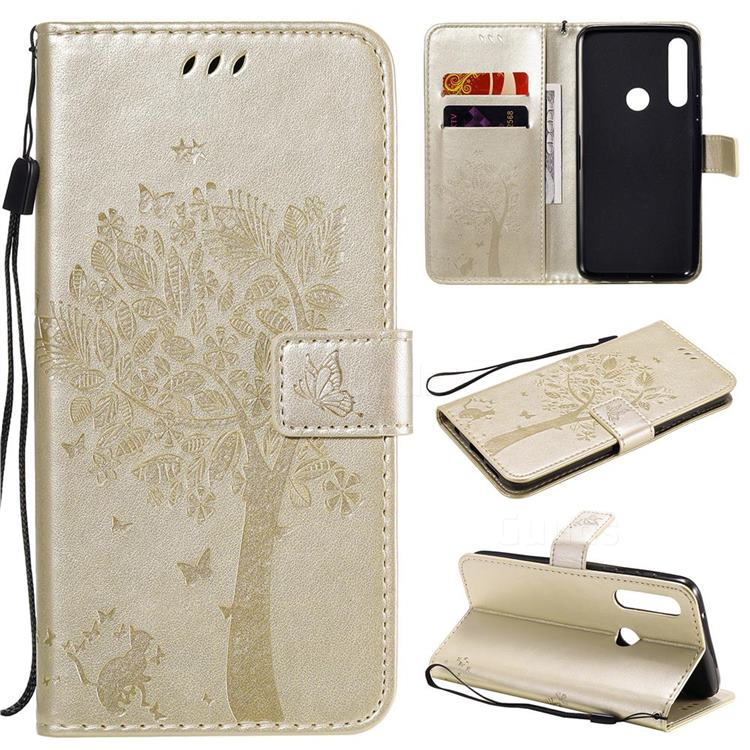 Embossing Butterfly Tree Leather Wallet Case for Motorola Moto G Power - Champagne