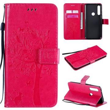 Embossing Butterfly Tree Leather Wallet Case for Motorola Moto G Power - Rose